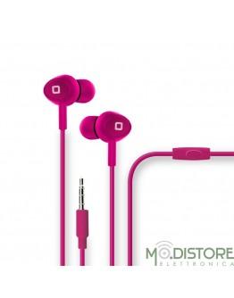 Auricolare con microfono e tasto alla risposta, pack a tubo in cartone rigido, colore rosa