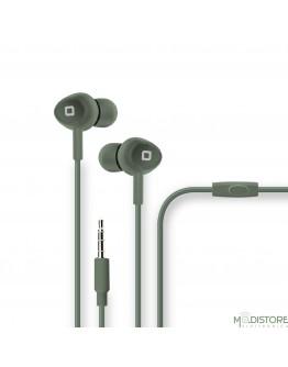 Auricolare con microfono e tasto alla risposta, pack a tubo in cartone rigido, colore verde militare