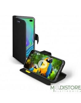 Custodia booksense funzione stand e cradle in TPU per Samsung Galaxy S10+, colore nero