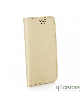 """Leather Case Smart Book Universal 5,0 - 5,5"""" gold"""