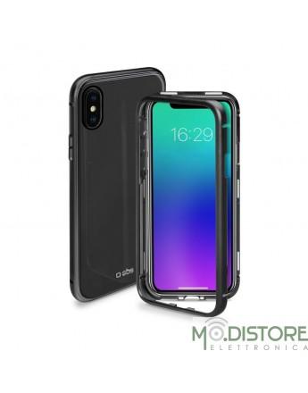 Cover vetro e alluminio chiusura magnetica per iPhone X/XS, colore nero