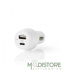 Caricabatterie per Auto 3A USB-A/USB-C Power Delivery 18W Bianco