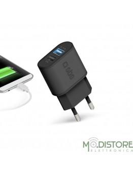 Caricabatterie da viaggio 100/250V 2100 mAh fast charge, 2 USB, colore nero