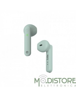 Auricolari Stereo Wireless TWS TWIN HOP, con base di ricarica da 300 mAh e comandi integrati, colore verde acqua