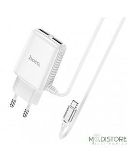 HOCO CARICABATTERIA CON DOPPIA PORTA USB CON CAVO MICRO-USB BIANCO